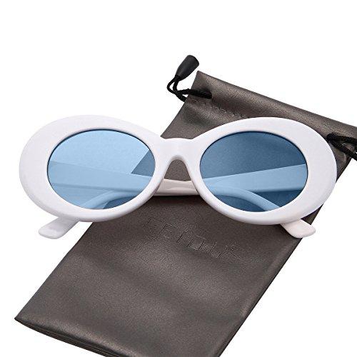 FEIDU Retro Oval Round Frame Sunglasses for Women Unisex FD 9013 Blue White d3b04e3b92eb