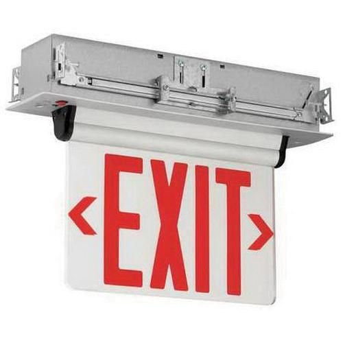 Hubbell Lighting CELR2RNE Emergency CEL Series Double Face LED Edge-Lit Exit Sign Brushed Aluminum Housing Red Letter 120/277 Volt Compass