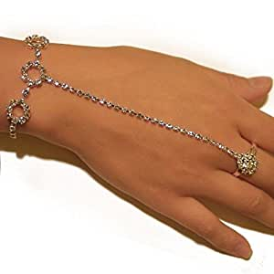 Rhinestone Pattern Elegant Sexy Slave Bracelet Belly Dancer Bridal with Ring