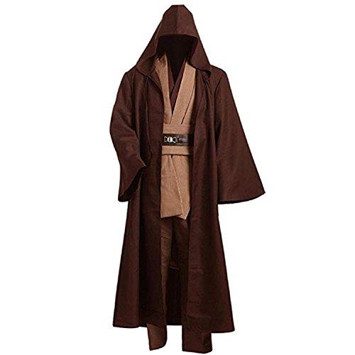 Men Robe Costume Adult Hooded Robe Cloak Knight Fancy Robe Cosplay Costume (M, Brown Set)