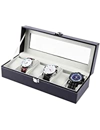 Ohuhu Watch Case Display, 6 Slot Watch Case Holder PU Leather Watches Storage Box, Birthday Presents for Men and Women