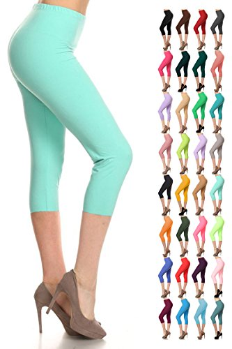 Leggings Depot Women's Popular Basic Capri Cropped Regular and Plus Solid High Waist Leggings (Plus (Size 12-24), Mint)