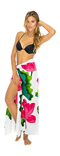 Sarong Wrap Lotus Flower with Coconut Clip Back From Bali Womens Beach Swimsuit Cover Up White Lotus Flower Dress