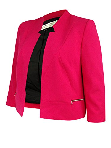 Tahari Women's Open-Front Zip Pocket Blazer (10, Strawberry) (Zip Pocket Blazer)