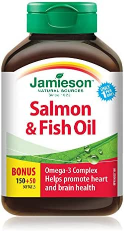Jamieson Salmon & Fish Oils Omega-3 Complex 200ct Bottle 1,000 mg {Imported from Canada}