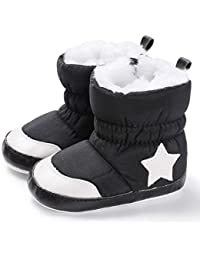 ❤️ Baby Premium Soft Sole Star Anti-Slip Mid Calf Warm Winter Infant Boots Toddler Snow Boots Size 3.5 M