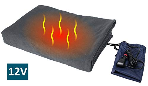 "ObboMed SH-4210G Ultra-Soft Deluxe Electric 12V, 60W Luxurious Comfy Polar Fleece Heated Travel Car Blanket, with Premium Cigarette Lighter Plug for Automobile, Vehicle, Gray, Size 61"" x 41.3"""