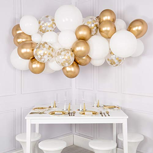 60pcs DIY Balloons Garland with Gold and White Balloons Confetti Balloons Chrome Shiny Metallic Latex Balloons Perfect for Birthday Party Bridal Baby Shower Engagement Wedding Party Decor (Gold)]()