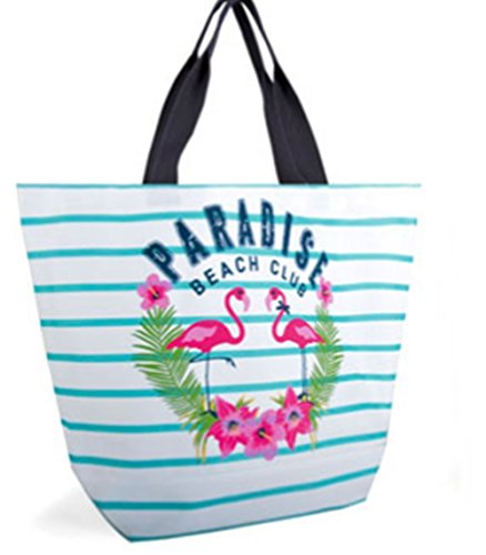 Bag Blue Large and White Beach Striped Flamingoes EcvWyv1q