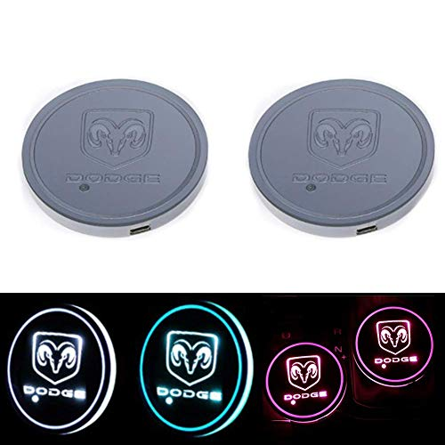 monochef Auto Sport 2PCS LED Cup Holder Mat Pad Coaster with USB Rechargeable Interior Decoration Light fit Dodge Accessory