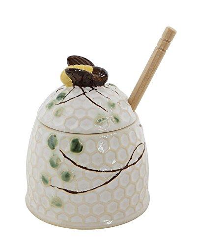 Grapevine Honey Jar with Honey Dipper - Honey Pot White