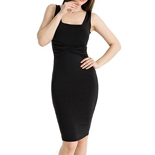 WUAI Womens Fashion Formal Pleated Sleeveless Evening Party Dress Mini Bodycon Dress(Black,US Size M = Tag L) by WUAI (Image #1)