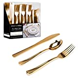 Elegant Gold Plastic Cutlery 75 Pack Disposable & Heavy Duty Plastic Silverware Set Includes 25 Forks, 25 Spoons, 25 Knives for Wedding, Parties, Catering, Restaurant & Everyday Use – Stock Your Home