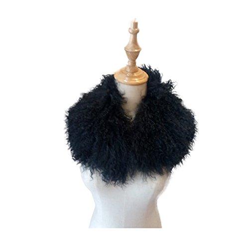 Lovingbeauty White/Grey/Black Mongolian Fur Scarf Collar Neckwarmer Kids Women Winter Scarf (Black)