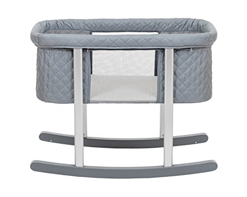 Baby Bassinet Cradle Includes Gentle Rocking Feature, Great for Newborns and Infants Safe Mattress Includes Wheels for Easy Movement High End Washable Fabric Lightweight (Grey (Diamond)) from Green Frog