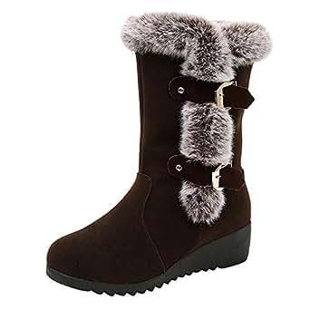 YiYLunneo Mujer Invierno Botines Piel Zapatos de Algodon Mujer ...
