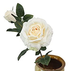 JAROWN Artificial Rose Silk Flowers Fake Leaves Long Branches for Home Wedding Decoration (White) 1