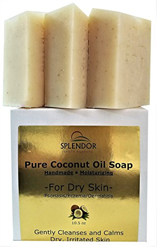 Moisturizing Pure Coconut Oil Soap for Dry, Irritated or Itchy Skin (10.5 oz) - Organic Ingredients For Psoriasis, Eczema and Dermatitis. Handmade, Vegan, 100% - Moisturizing Bar Body Unscented