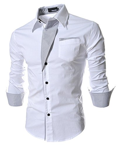 Formal Shirts for Men Slim Fit Casual Business Office Work Dress Shirt Long Sleeve 2016 Fashion Designer White Size XL