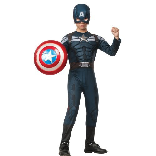 Avengers Captain America Costume (Rubies Captain America: The Winter Soldier Deluxe Stealth Suit Costume, Child Large)