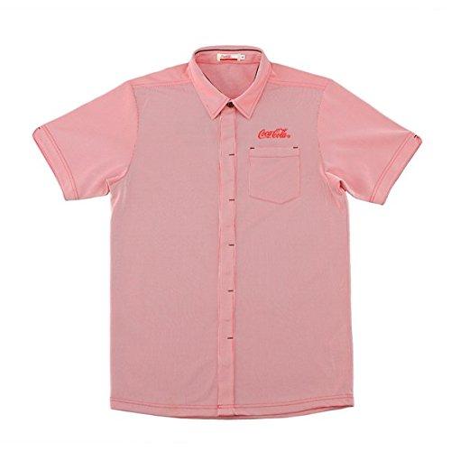 Coca-Cola(コカ?コーラ) ゴルフ メンズ 半袖ストライプシャツ レッド