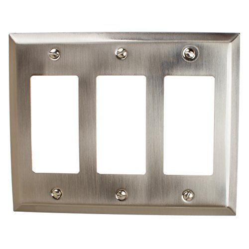 GlideRite Hardware Wall Plate Cover for Decora Rocker Switch – Steel 3-Gang Triple GFCI Classic Square Beveled Receptacle for Kitchen, Bath or Living Room (Triple Rocker, Brushed Nickel finish) - Brushed Nickel Triple Rocker
