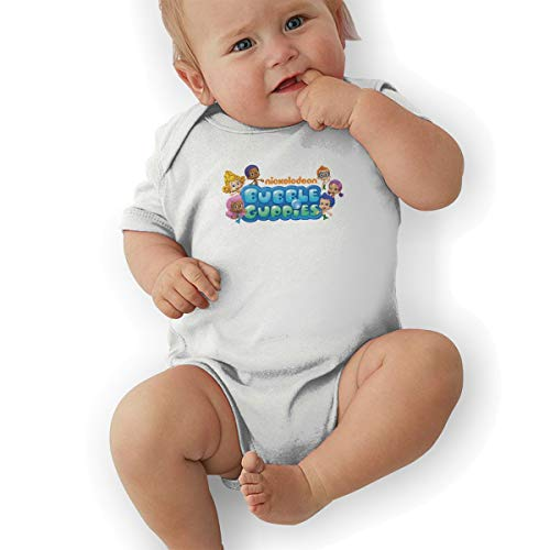 Baby Clothes, Bubble Guppies Logo Unisex Newborn Infant Bodysuit Baby Clothes White
