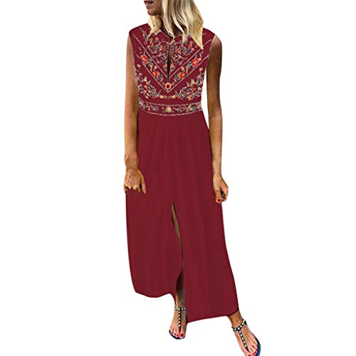 Sunhusing Women's V-Neck Bohemian Ethnic Print Sleeveless Dress Summer Holiday Beach Long Dress Wine