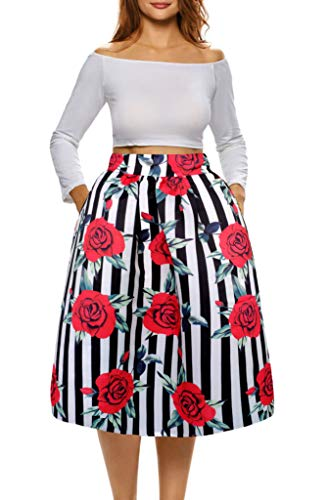 Afibi African Print Skirts for Women Boho Plus Size Flare Pleated Skirts (X-Large, Picture 12) ()