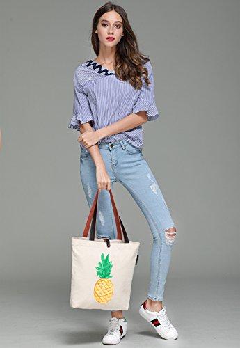 So'each Women's Pineapple Art Painter Graphic Canvas Handbag Tote Shoulder Bag