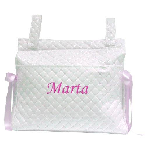 Mi Pipo - Bolso panera personalizado bebé blanco-rosa, color de bordado: fucsia