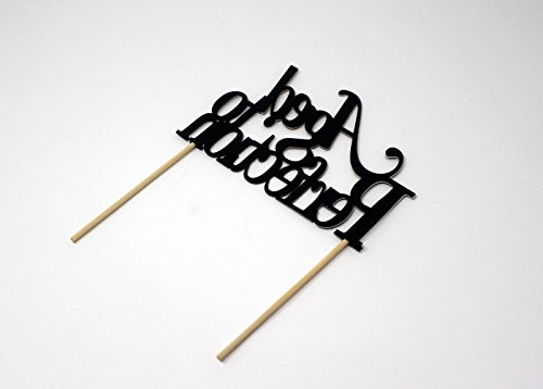 All About Details CATATPE Aged to Perfection Cake Topper (Black and Gold), 4'' height (plus 4'' wood stick handles) and up to 6'' width by All About Details (Image #2)