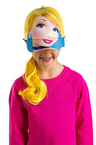 ABG Accessories Girls' Cinderella Ponytails Hair Baseball Cap, Blue, Girls (Hats With Hair Attached)