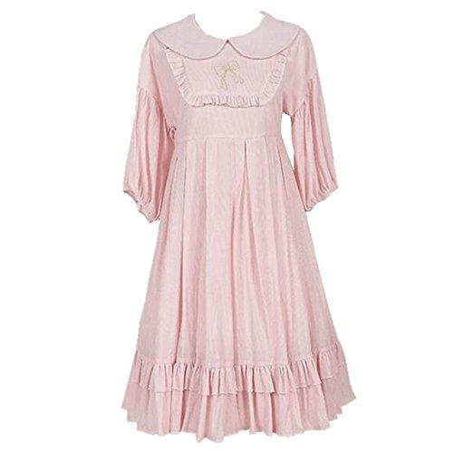 Packitcute Girls Dress Japanese Style Women Cute Sweet Lolita Cosplay Half Sleeve Loose Princess Dresses (Pink, (Sleeves Lolita Dress)