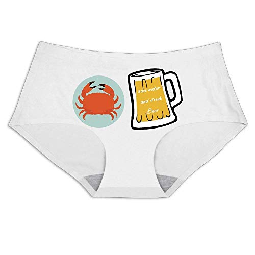 (Crabs Beer Cartoon-01,Smooth Breathable Ice Silk,Underwear Soft Briefs Invisible Panties Women's Full Coverage Bikini)