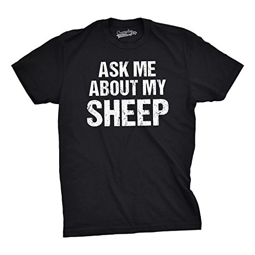 T-shirt Funny Sheep Animal (Mens Ask Me About My Sheep Funny Farm Animal Livestock Flip Up T Shirt (Black) XL)