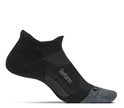 (Feetures - Merino 10 Ultra Light - No Show Tab - Athletic Running Socks for Men and Women - Charcoal - X-Large)
