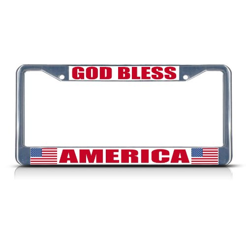 Fastasticdeals GOD Bless America Chrome Heavy Duty Metal License Plate Frame
