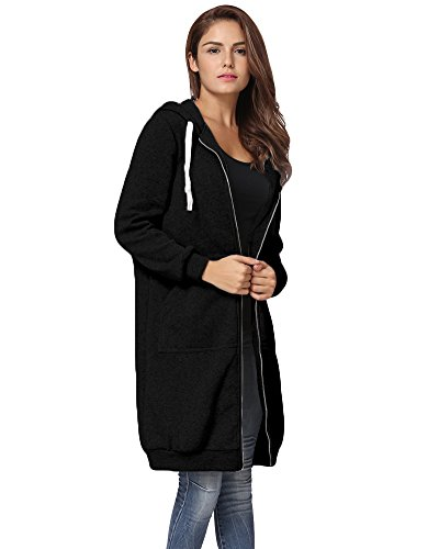 Romacci Women Zip up Hoodies Casual Pockets Tunic Sweatshirt Long Hoodie Outerwear Jacket Black/Grey /Army Green,S-5XL
