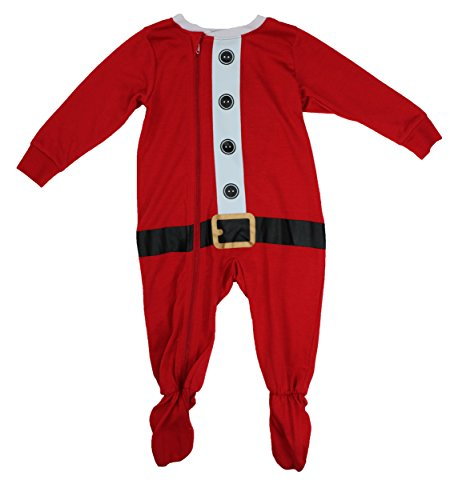Family PJs Unisex Baby One Piece Santa Suit Pajamas (24 Months, Red)