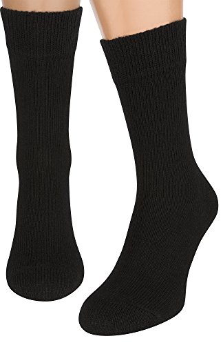 Merino Wool Organic Cotton Air Socks for Hiking Dress Boot Men Women Kids, 2 Pair ( Black L )
