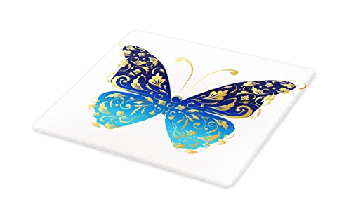 Lunarable Animal Cutting Board, Blue Butterfly Figure with Wavy Artistic Leaves Graphic, Decorative Tempered Glass Cutting and Serving Board, Small Size, Pale Blue Dark Blue Gold by Lunarable