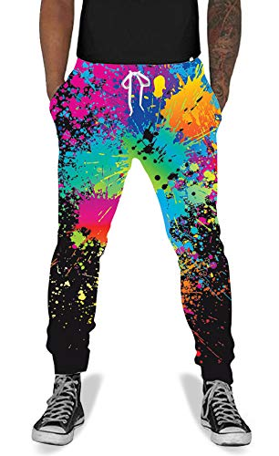 (UNIFACO Men Women Causal Splatter Active Jogging Pants Baggy Elastic Sweatpants Black)