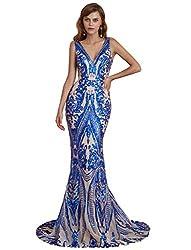 Royal Blue V-Neck Sequin Sleeveless Lace-up Mermaid Dress
