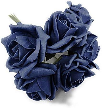 INERRA Rosa Artificial Ramo - Color Non-Run Tinte - 6 Cabezas - Azul Marino