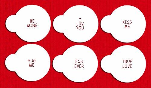 Designer Stencils C252 Candy Heart Sayings Cookie Stencils, Small, Beige/Semi-Transparent