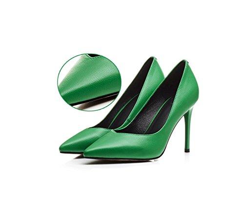Sexy Pekte Grønne Kvinne Sko Fasjonable Pendler Drømme 9cm Høye Komfortable Sandaler Tå Grunne Sommer Arbeid Hæler z5ggd6wq