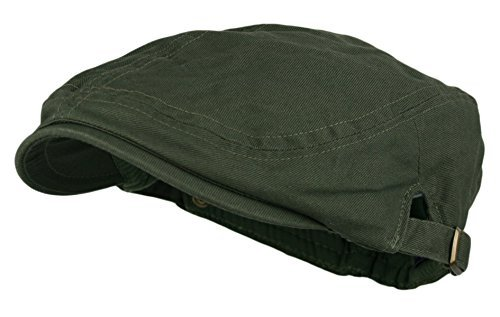 Men's Cotton Flat Cap Ivy Gatsby Newsboy Hunting Hat, Olive, One Size