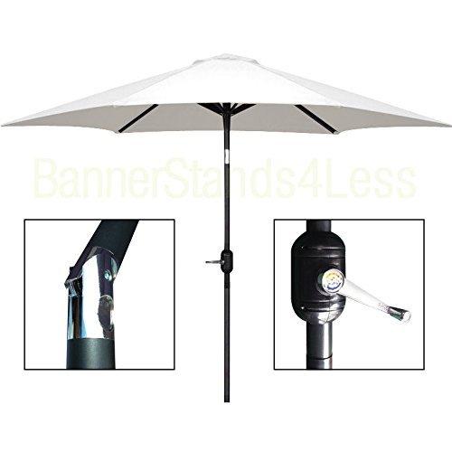 8 ft Aluminum Outdoor Patio Garden Umbrella Market Yard Beach Crank Tilt - WHITE (Target At Red Umbrellas Patio)