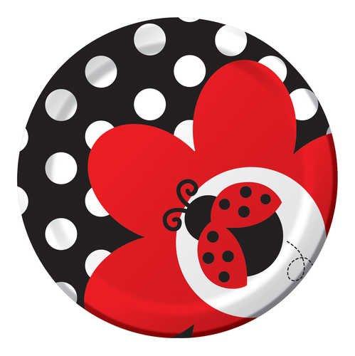 8-Count Round Paper Dessert Plates, Ladybug Fancy]()